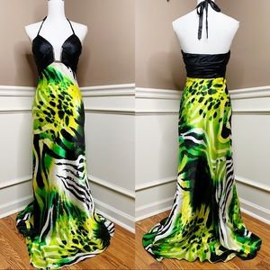 Cache silk green blk animal print full gown M0679
